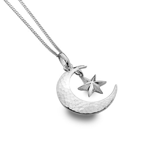 Sterling Silver Pendant Moon and Star with Sterling Silver Chain