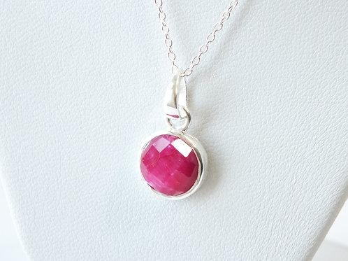 """Semi Precious Stone Necklace 16-18"""" SS Chain - Jul - Ruby"""