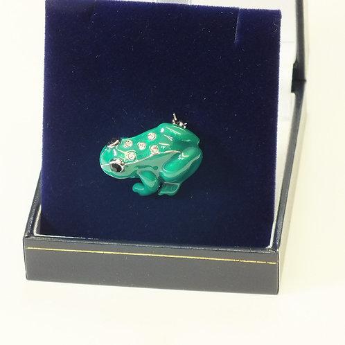 Green Enamel Frog Brooch