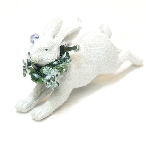 White Resin Rabbit with Eucalyptus/Blueberries .