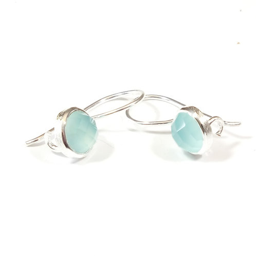 Semi Precious Stone Drop Earrings SS - Mar - Aqua Chalcedony