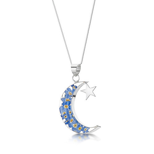 Sterling Silver Pendant - Forget me not - Moon+Star