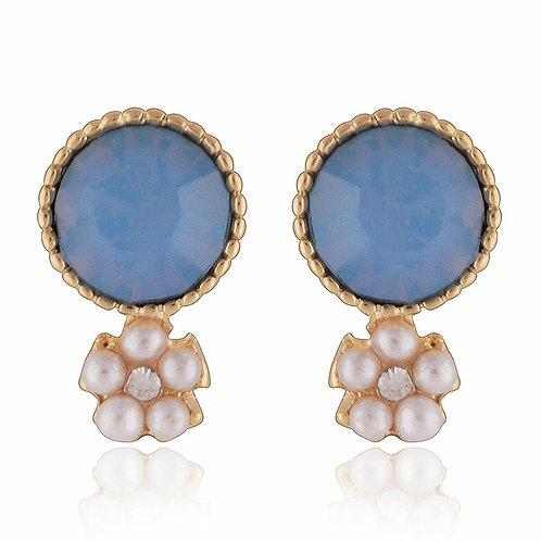 Blue Gemstone Stud Earrings with Daisy Pearl Drop