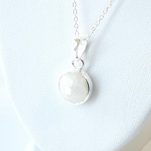 """Semi Precious Stone Necklace 16-18"""" S.S Chain - Apr-Sapphire/Rainbow Moonstone"""