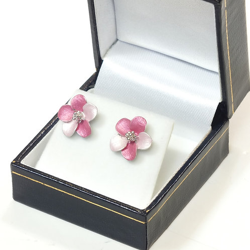 Pierced Stud Earring with  Enamel Hot Pink Flower and Rhodium plated detail