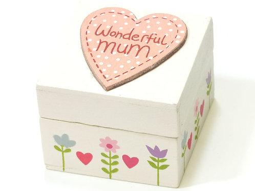 Pastel Wood 'Wonderful Mum' or 'Love Mum' Mini Keepsake Box
