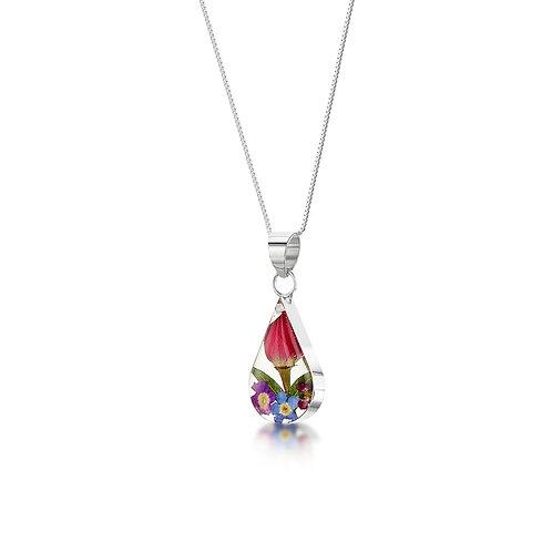 Silver Pendant - Mixed flower - Teardrop