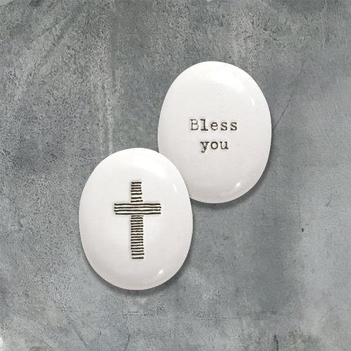 Porcelain Pebble-Cross/Bless You