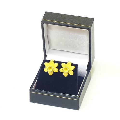 Clip On Gold Daffodil Earrings