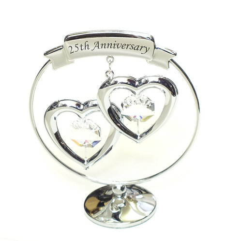 Crystocraft Chrome Circle Ring - 2 Hearts - 25th Anniversary