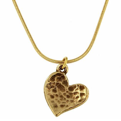 "Heartbeat - Tiny Beaten Heart Pendant On 18"" Gold Plated Snake Chain"