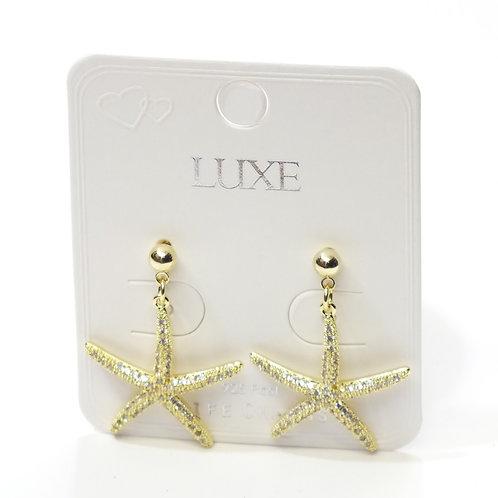 Gold Starfish Drop Studded Earrings