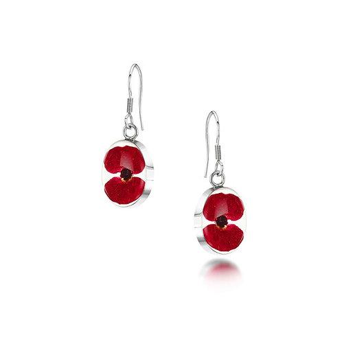 Sterling Silver drop Earrings - Poppy - Oval