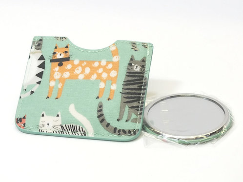 Cats Button Mirror in Pouch