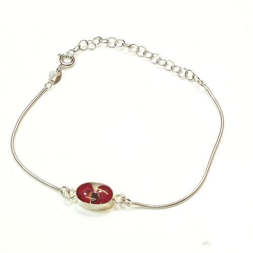 Sterling Silver Snake Bracelet - Oval charm - Poppy