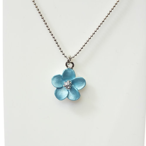 Turquoise Flower Necklace with Rhodium plated detail