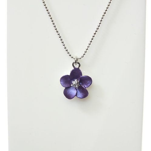 Purple Flower Necklace with Rhodium plated detail