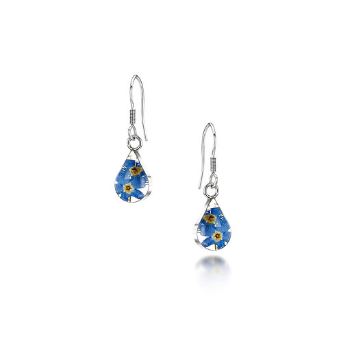 Silver Drop Earring - Forget-Me-Not  - Teardrop