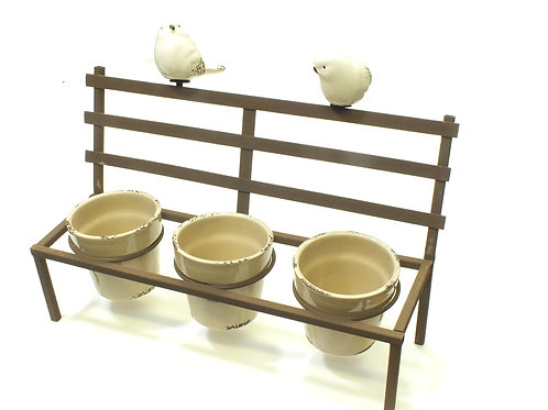 Planter X3 Bench with birds