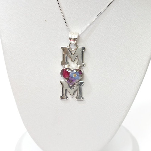 Sterling Silver Mum Pendant - Mixed flowers - Mum