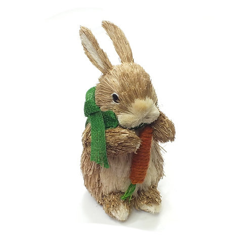 Bristle Bunny With Carrot/Green Bow Decoration