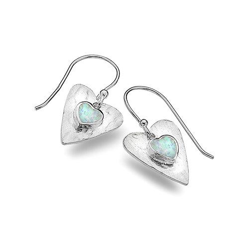 Sterling Silver Drop Earrings Heart+Synthetic/Opal Textured