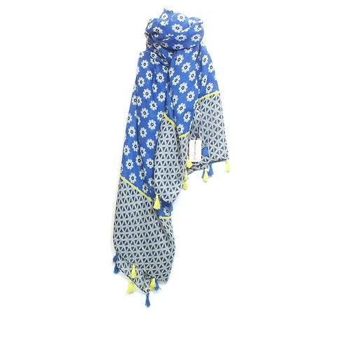Scarf Daisy Print with Tassels in Blue