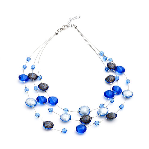 Floating Murano Glass Lentil Wire Layered Necklace, Blue