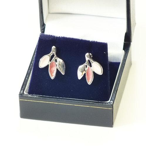Pink Pastel Leaves on Rhodium Earrings