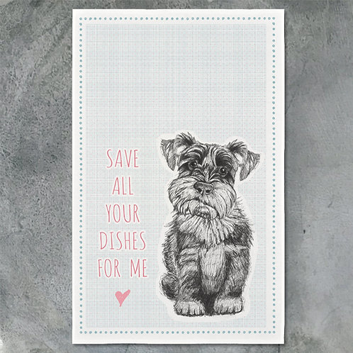 Tea Towel - Dog/ Save All Dishes