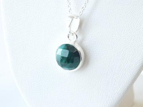"""Semi Precious Stone Necklace 16-18"""" S.S Chain - May-Emerald/Green Onyx"""