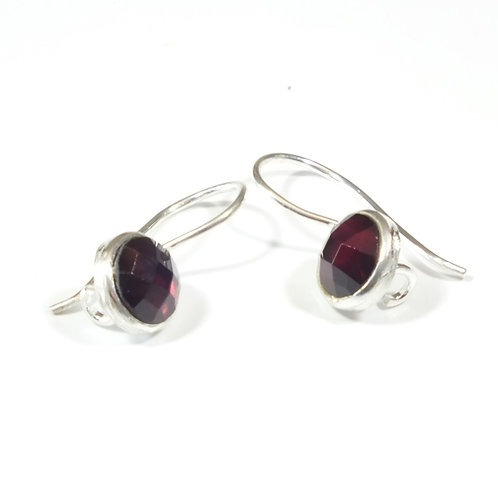 Semi Precious Stone Drop Earrings SS - Jan - Garnet