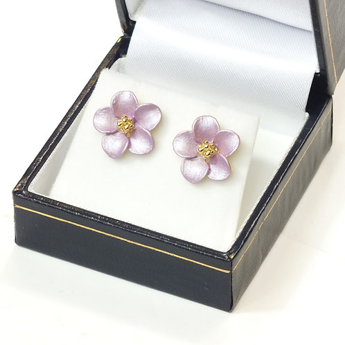Pierced Stud Earring with Enamel Lilac Flower and Gold plated detail
