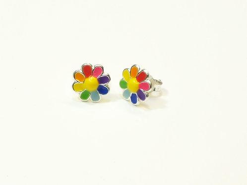 Rainbow Flower Studs