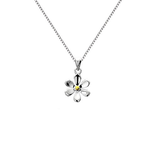 Daisy Sterling Silver Pendant with Brass Plating Stamen/ Chain