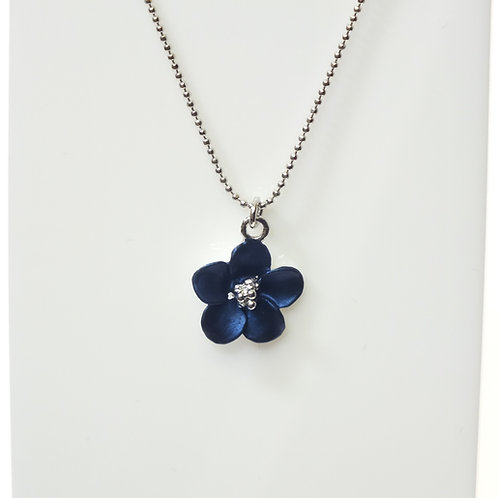 Navy Blue Flower Necklace with Rhodium plated detail