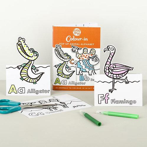 Colour-in Card Book - Pop Up Animal Alphabet
