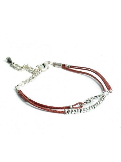 Leather Treble Clef Bracelet Brown Leather