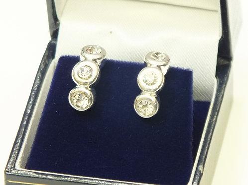CZ Rhodium Three Tier Earrings