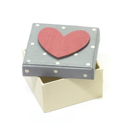 Dotty Grey Box-Red heart