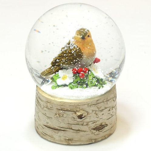 Resin/Glass Robin Snowdome - Large
