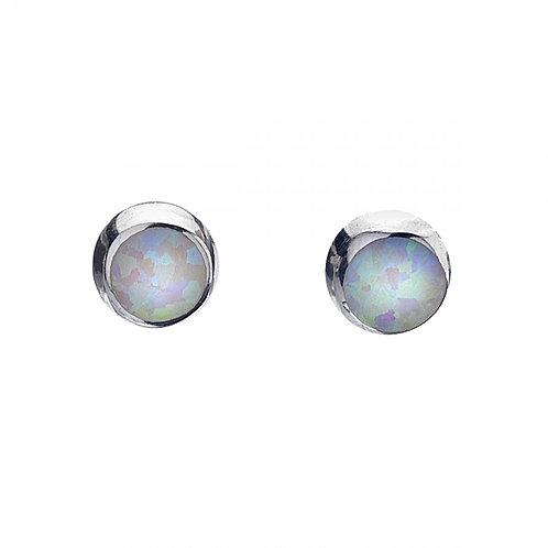 Sterling Silver Stud Earrings Synthetic Opal