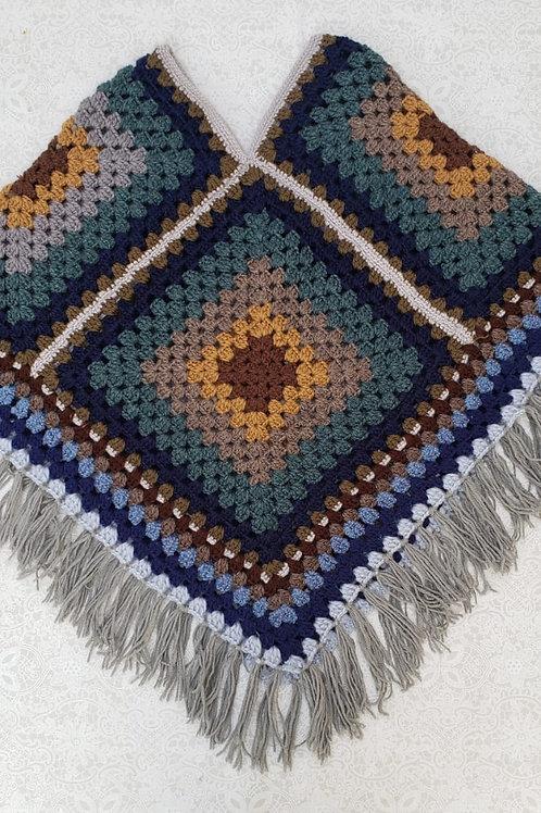 Poncho colorido médio