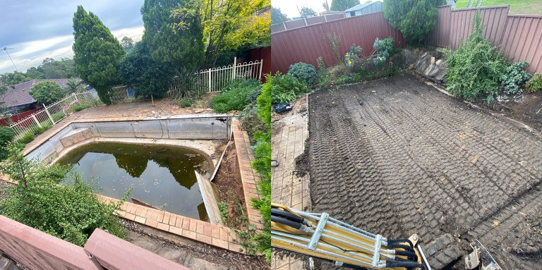 Concrete Pool Removal with Cement Sheeting Sides -  Before and After