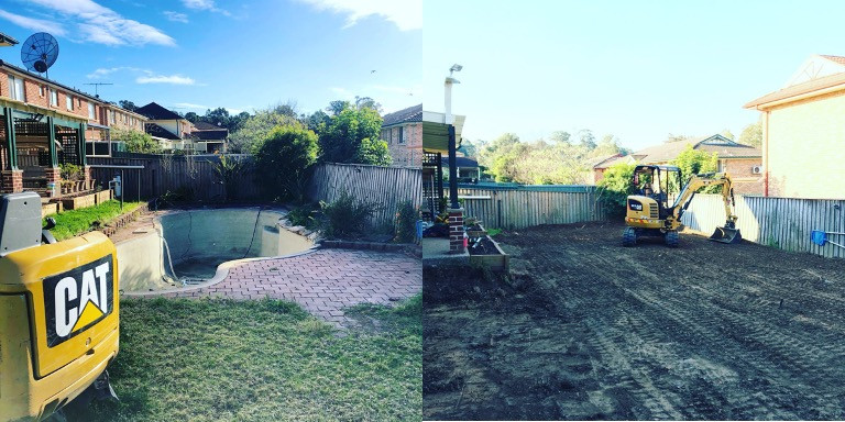 Concrete Pool Removal - Before and After