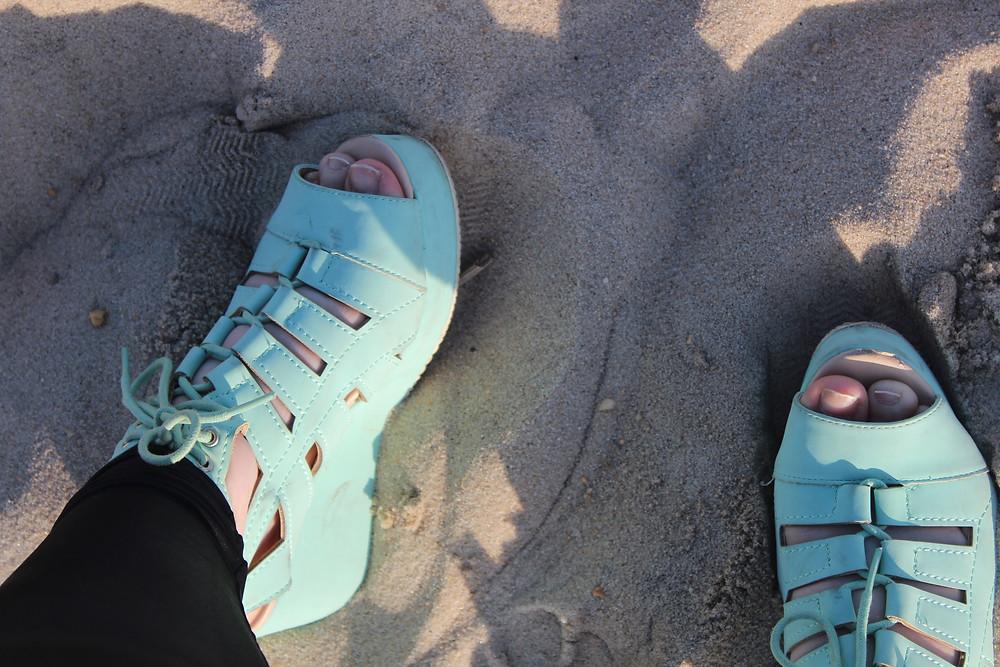 Beach, Sand, Blue Platform Sandal Flats