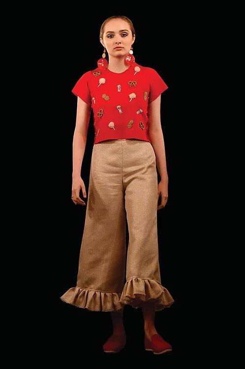 Lurex Linen Pants