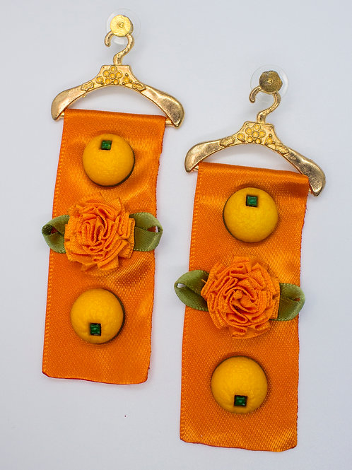 Orange Ribbon Earrings
