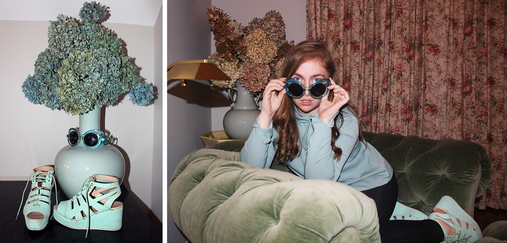Blue Accessories - Platform Flats, Swirly Sunglasses