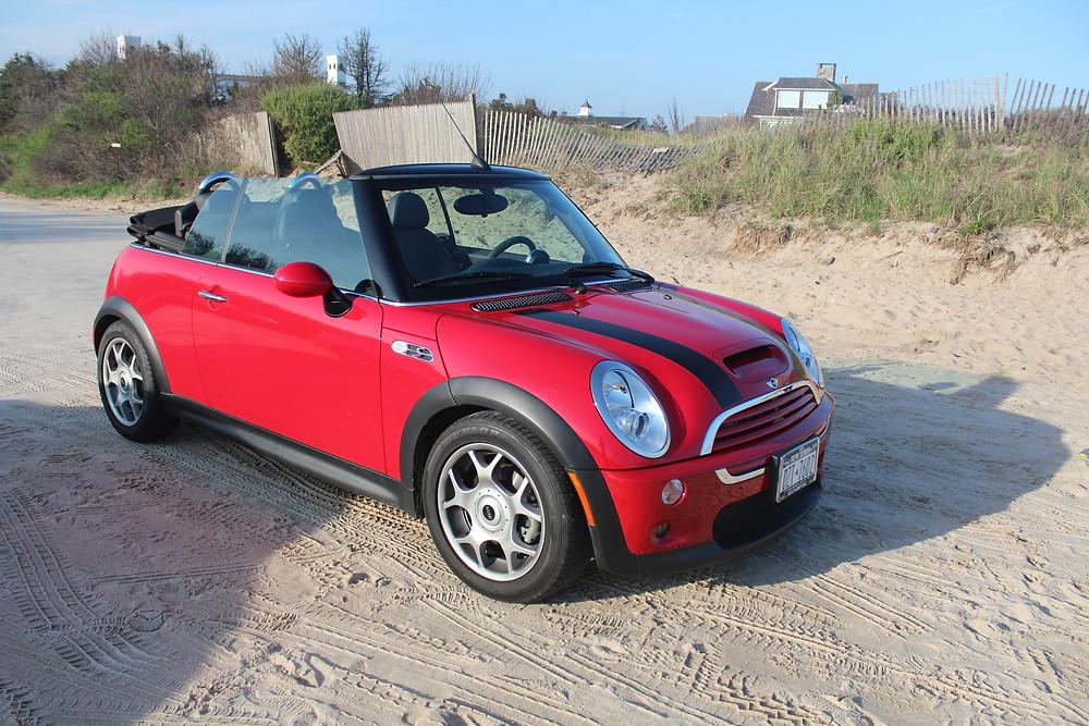 Red Mini Cooper - The Hamptons Beach